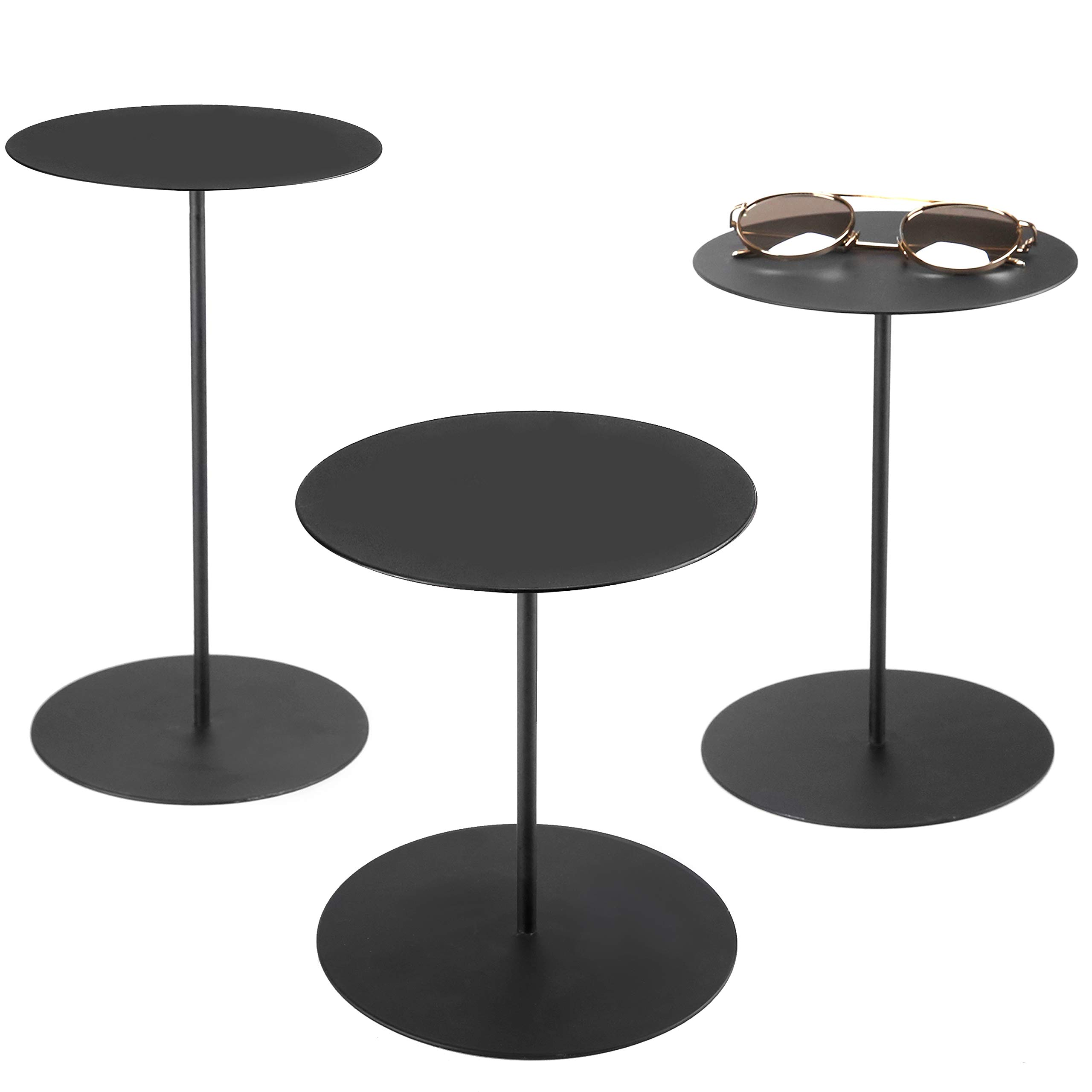 Set of 3 Black Metal Retail Display Risers, Various Height Jewelry and Accessories Stand by MyGift