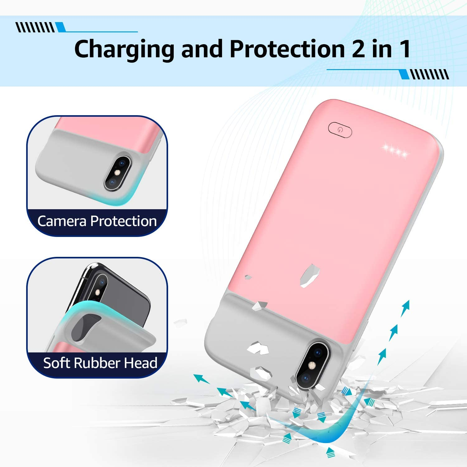 5.8 inch 4100mAh Slim Portable Charging Case Protective Rechargeable Charger Case Extended Battery Pack Compatible with iPhone X Xs Rose Gold OMEETIE Battery Charging Case for iPhone X//Xs//10