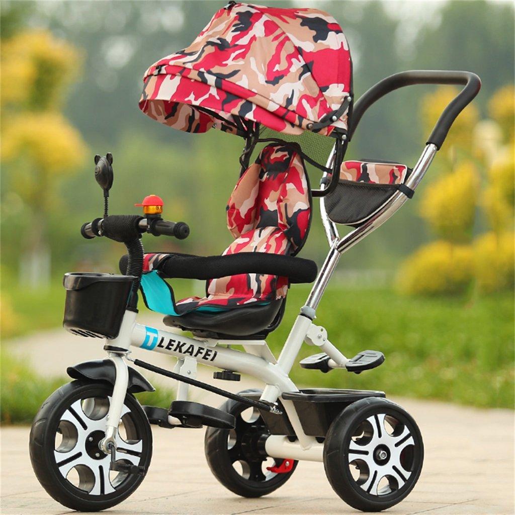 4-en-1 Triciclo para niños Kid Trolley Empuñadura Stoller Bicicleta con camuflaje rojo Anti-UV Awning y Parent Handle   para 1-3-6 años de edad Niño y niña Bebé   Asientos giratorios   Aleación de aluminio