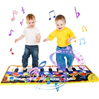 Jenilily Musical Piano Mat, 19 Keys Piano Keyboard Play Mat, 8 Musical Instruments Dance Floor Mat Music Carpet Baby Early Education Music Toy Gift for Kids Girls & Boys 43.3'' X14.2''