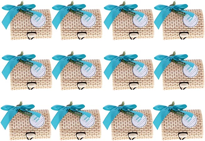sharplace 12 unidades estuches de bambu Retro Estilo Chino Regalo Caramelos cermonia nunziale Fiesta Cumpleaños turquesa: Amazon.es: Hogar