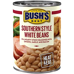 BUSH'S BEST Southern Style White Savory Beans, 15.3 Ounce Can (Pack of 12), Canned Beans, White Beans Canned, Source of Plant Based Protein and Fiber, Low Fat, Gluten Free
