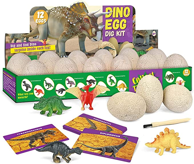 YSSKTC 12 Dig it up Dinosaur Egg Cool Archaeology Science Gifts for Boys /& Girls Dinosaur Digging Fossil Kit with Art Acrylic Paint Paintbrush Palettes Animal Cards Dinosaur Toys for Kids