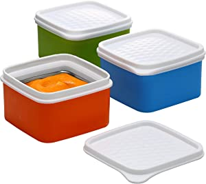 Baby/Toddler/Kids Stainless Steel Insulated Food Storage Container Small Leak Proof Lunch Box- 3 pk. 8 oz Snack Containers- Square Thermal Food Container With Airtight Lid On The Go, School, Daycare