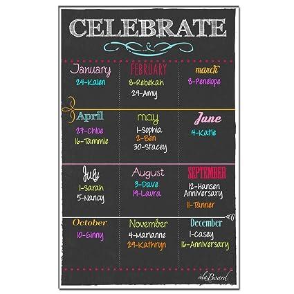 Birthday Calendar.Birthday Calendar Magnet Black