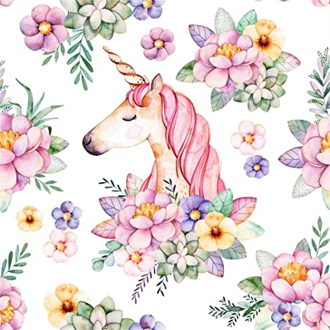 Amazon laeacco 2x2meter watercolor flowers unicorn background laeacco 2x2meter watercolor flowers unicorn background closed eye cute pink unicorn photography backdrop spring blossoms pink mightylinksfo