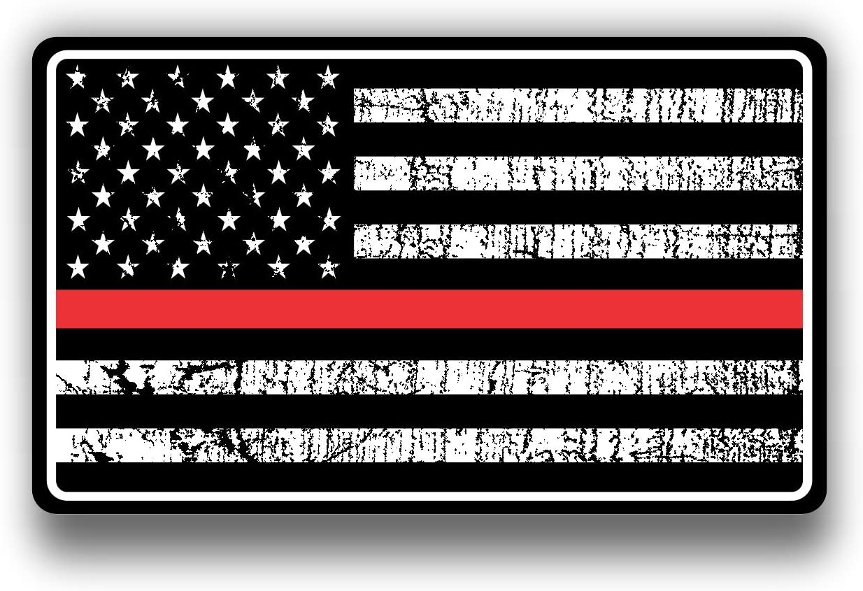 """Gloss Black 4.5/"""" x 8/"""" V2 Set of 2 pc American Flag Decal Distressed Military"""
