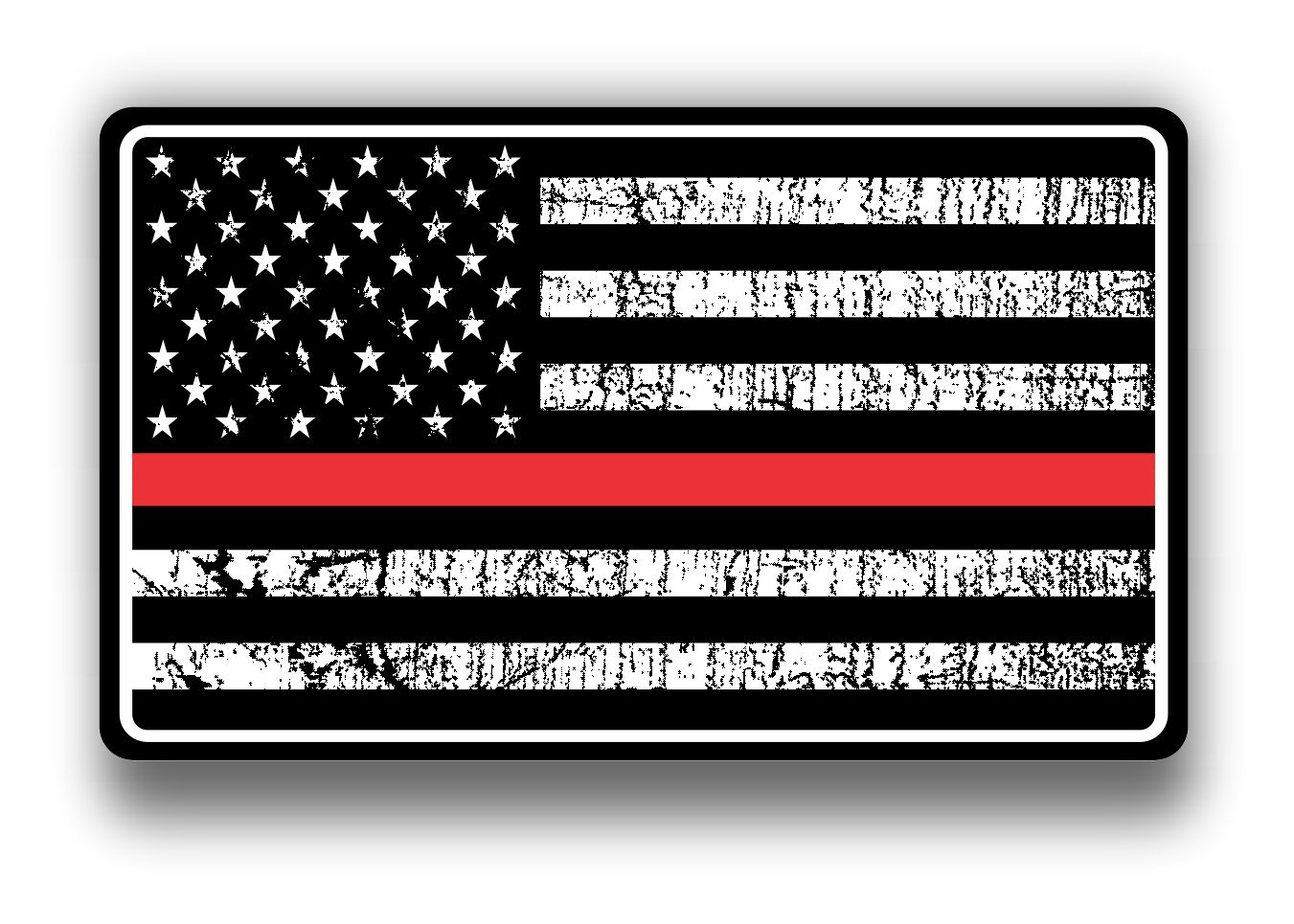 Fire dept red thin line usa flag decal american flag sticker grunge distressed red stripe for cars and trucks for honor and support of our fire fighters