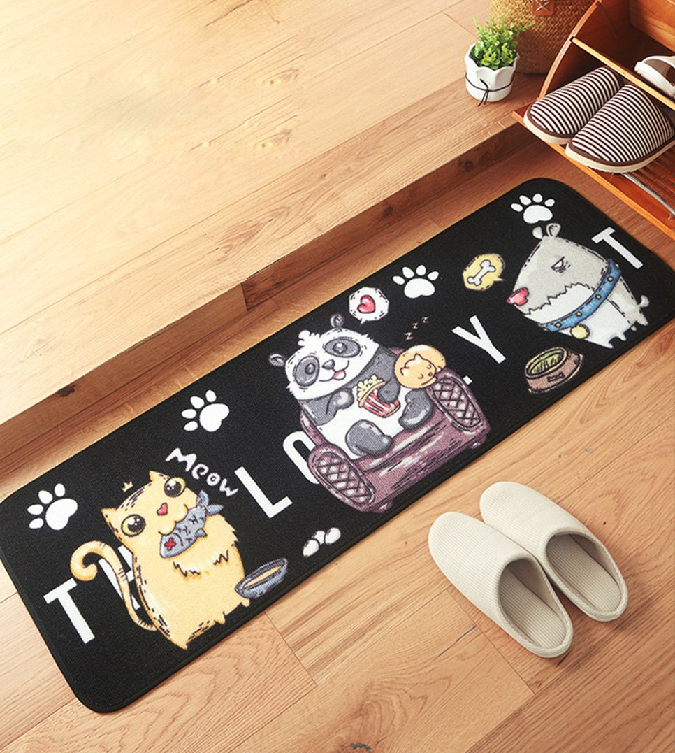 PRAGOO Cartoon Animal Mat Dog Cat Rug Porch Bath Doormat Bedroom Living Room Floor Carpet Anti-slip