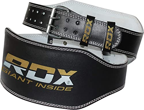 RDX Weight Lifting Belt for Fitness Gym – Adjustable Leather Belt with 6 Padded Lumbar Back Support – Great for Bodybuilding, Functional Training, Powerlifting, Deadlifts Workout Squats Exercise