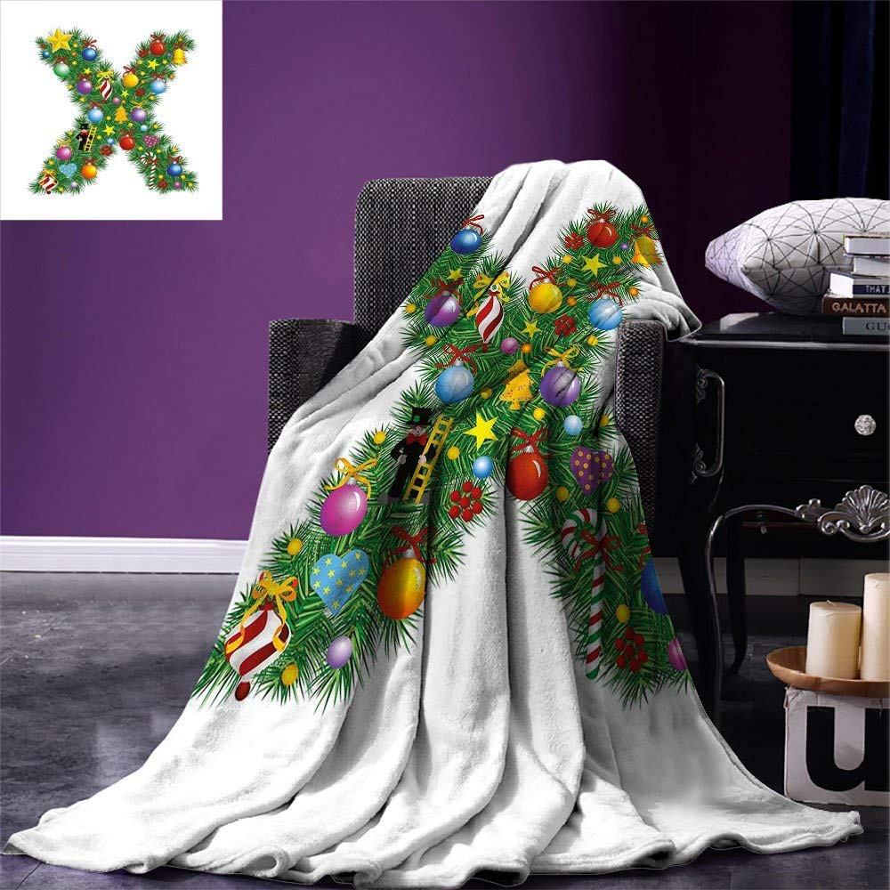 color09 90 x70  VAMIX Letter X Warm Microfiber All Season Blanket Different Type of Balls Sporting Goods ABC Design Kids Boys Alphabet Initials Print Artwork Image£¬Multicolor, Multicolor, Canvas