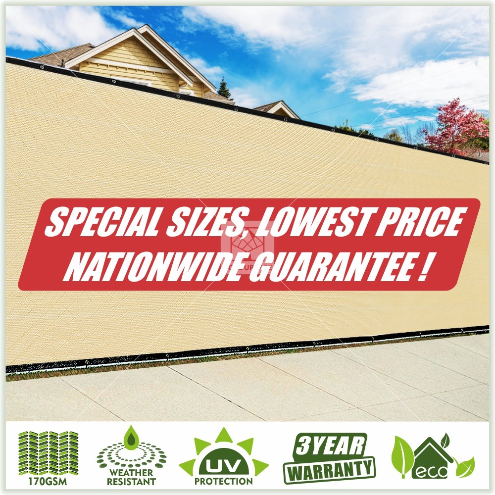 ColourTree Customized Size Fence Screen Privacy Screen Beige - Commercial Grade 170 GSM - Heavy Duty - 3 Years Warranty (1, 6' x 96')
