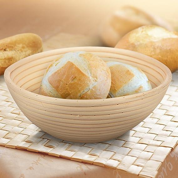 8.5 Round Banneton Brotform Bread Dough Proofing Rising Rattan Basket /& Liner