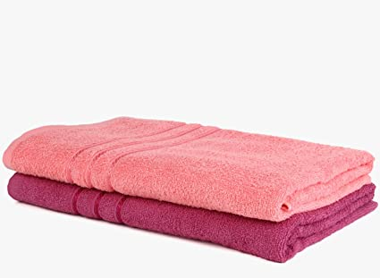 Bombay Dyeing 2 Piece Cotton Bath Towel Set(75cm x 150cm) (Pink, Light Pink)