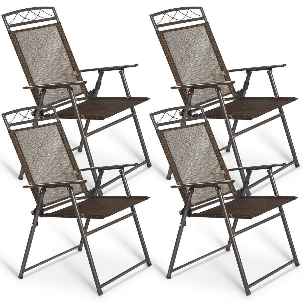 Patio Folding Sling Chairs Steel Textilene Camping Deck Garden Pool Set of 4