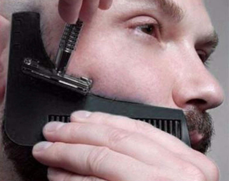 Peine para la barba–Plantilla para los hombres–ligero y flexible–Talla única–Copa curva–Herramientas de forma–borde Contour línea de barba, bigote, con trabillas y frente Nargom