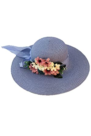 Mujer Gorra De Playa Plegable con Lazo De Flores con ala Ancha De ...