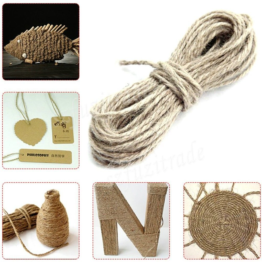 50M Wrap Gift Hemp Rope Ribbon Twine Rope Cord String Ball Dark Pink