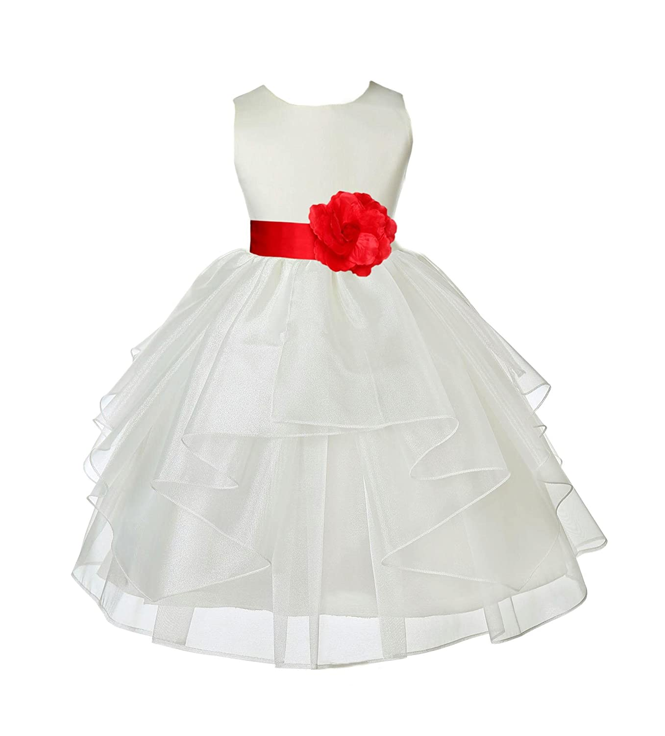 8a8ba4b83953 Amazon.com: Wedding Pageant Ivory Shimmering Organza Flower Girl Dress  Toddler Gown 4613T: Clothing