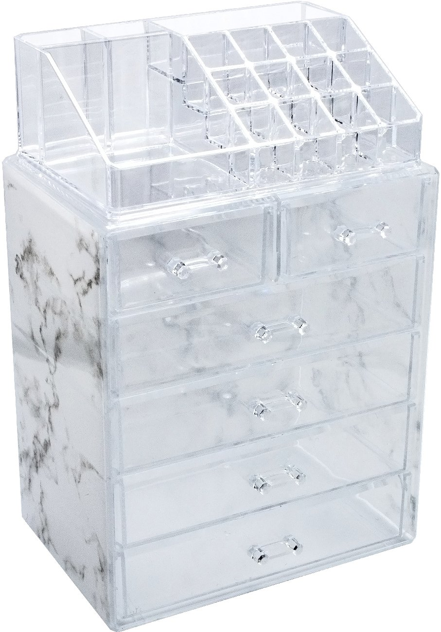 Sorbus Luxe Marble Cosmetic Makeup and Jewelry Storage Case Display - Spacious Design - Great for Bathroom, Dresser, Vanity and Countertop (4 Large, 2 Small Drawers, Marble Print) by Sorbus