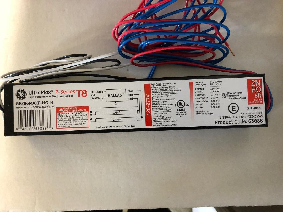 10 Pieces GE 63888 GE286MAXP-HO-N 120-277V FOR 1 OR 2 T8 HO Lamp Ballast
