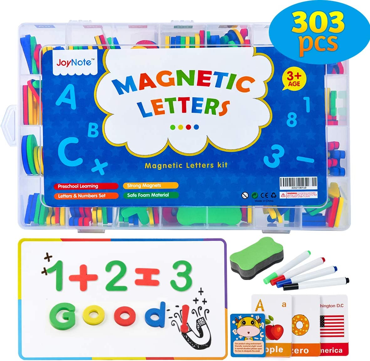 Magnetic Letters Set, 303 Pcs Alphabet Magnets Kit for Kids, Refrigerator Letters with Double-Side Magnet Board and Storage Box, Educational Toy Set for Kids Learning Spelling