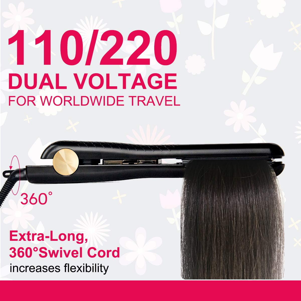 LANDOT Anti Static Hair Straightener Professional Tourmaline Ceramic Flat Iron with 1 inch Floating Plates Adjustable Temperature 140F to 465F for All Hair Types Dual Voltage Hair Styling Tools