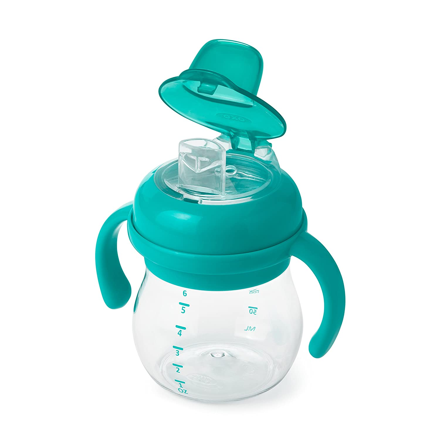 OXO Tot Transitions Soft Spout Sippy Cup With Removable Handles, Teal, 6 Ounce 61127500