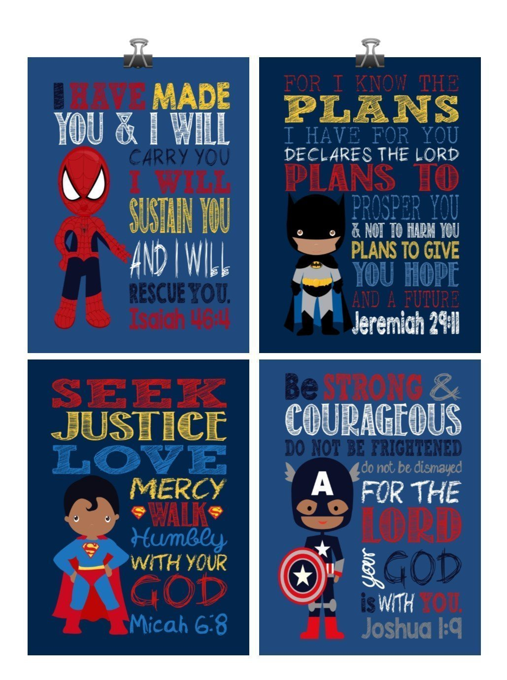 African American Christian Superhero Nursery Decor Art Print Set of 4 -Batman, Captain America, Superman and Spiderman - Multiple Sizes by Pixie Paper