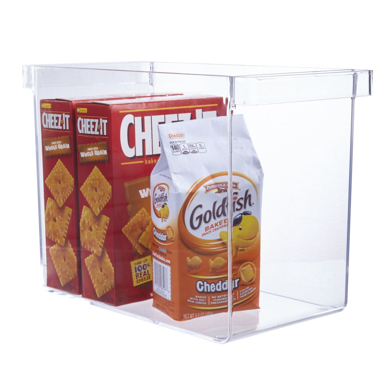 Clear Plastic Pantry Organizer Bin with Handles
