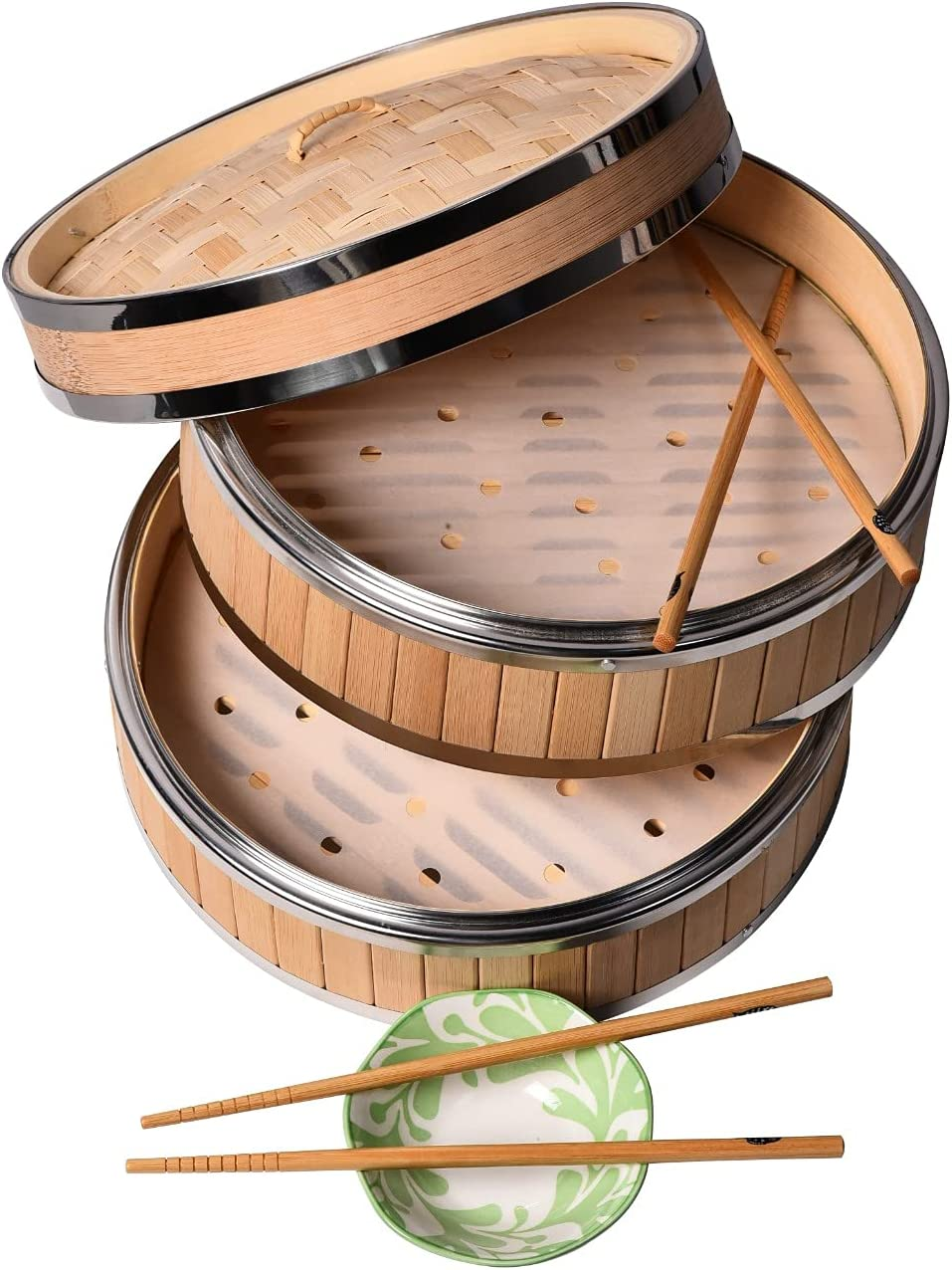 Bamboo Steamer 10 Inch, Two Tier Baskets - Dim Sum Dumpling & Bao Bun Chinese Food Steamers - Steam Baskets For Rice, Vegetables, Meat