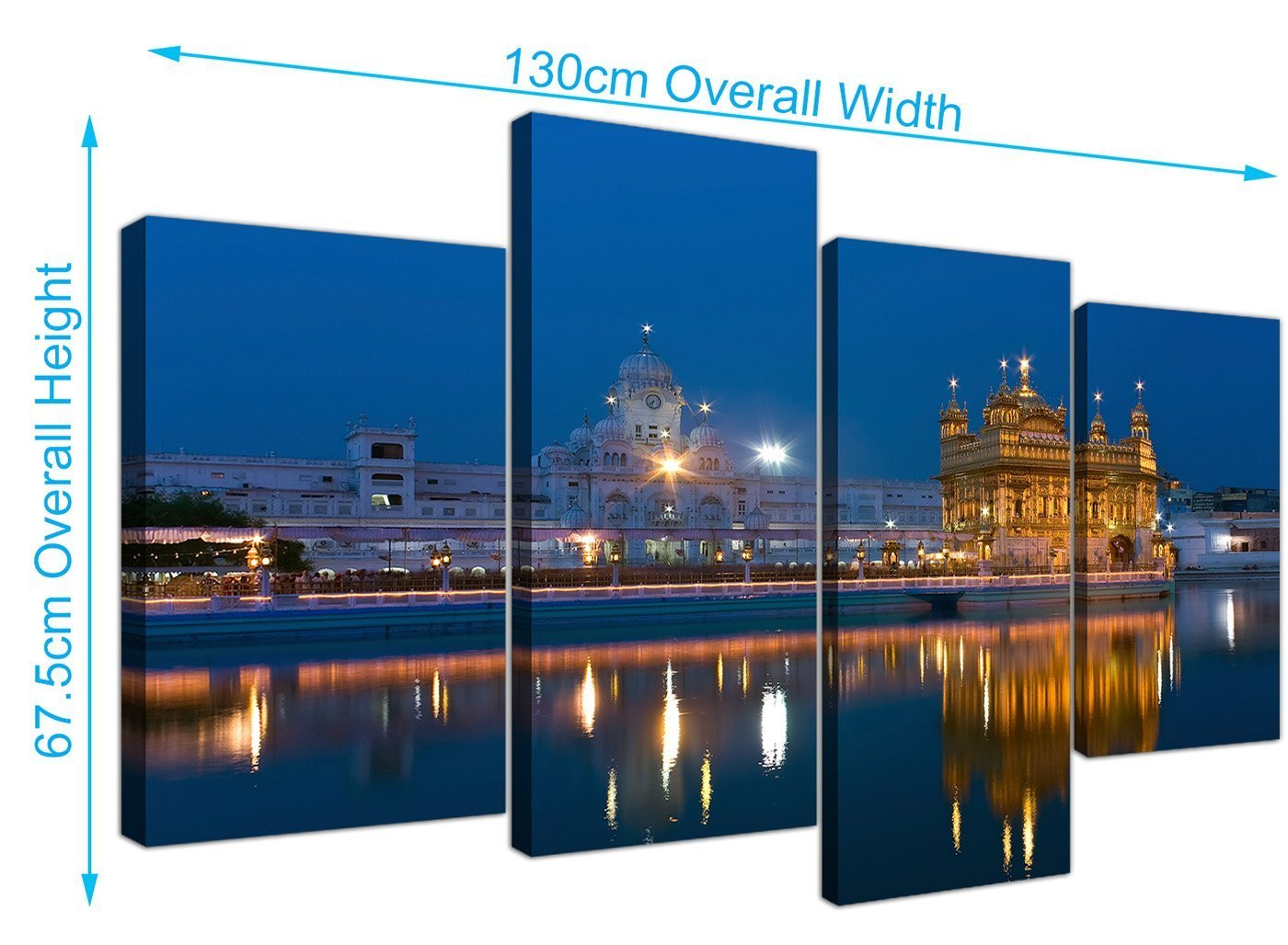 Large sikh canvas wall art pictures of the golden temple at amritsar set of 4 multi panel artwork modern split canvases xl 130cm wide