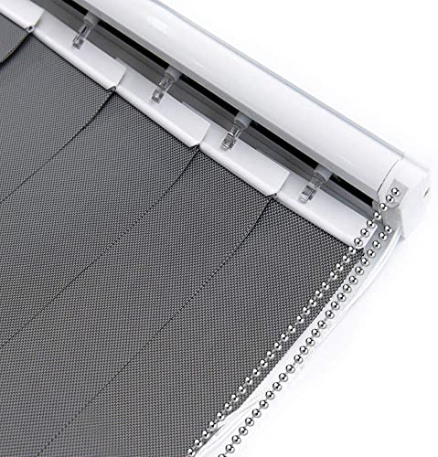 LETUA Solar Vertical Window Blinds, 5 Mesh Fabric, Light Fitering, Reduce Sun Glare, UV Protection, Grey Window Shades for Slidding Door, French Window, Room Divider, Glass Wall,Oversized Windows
