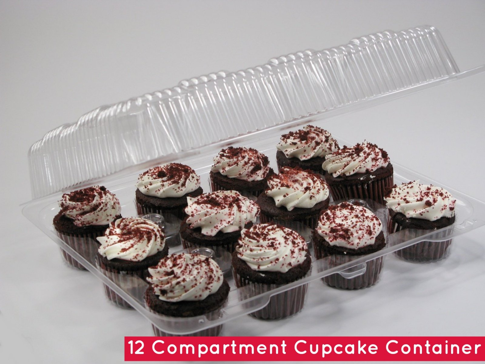 12-Compartment Cupcake Container with Hinged Lid, Clear (100, 12- Compartment) by The Bakers Pantry (Image #8)