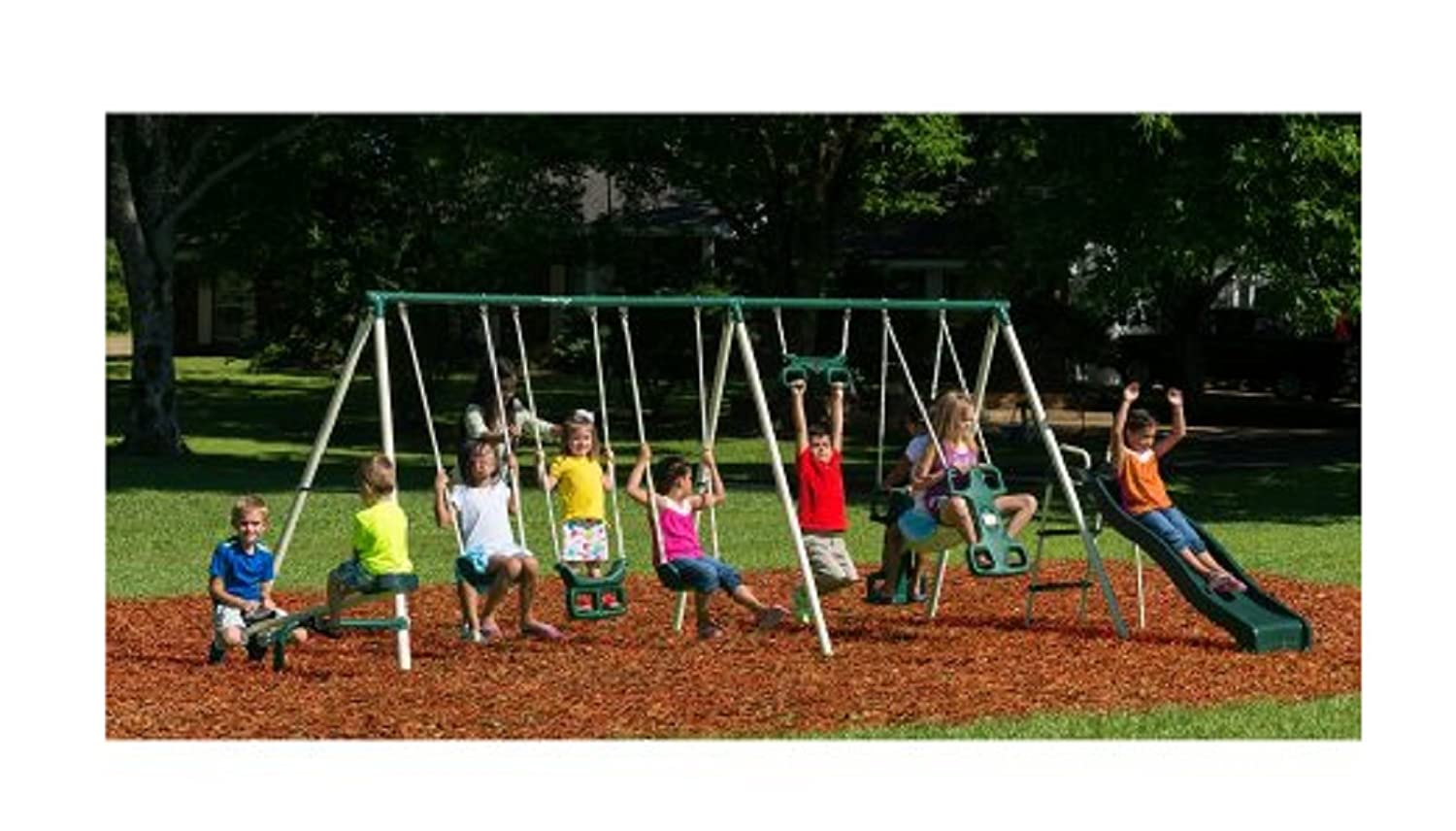 Amazon.com: Flexible Flyer Big Adventure Metal Swing Set Includes Slide,  Rocket Rider, Swings, Trapeze , Seesaw: Toys & Games
