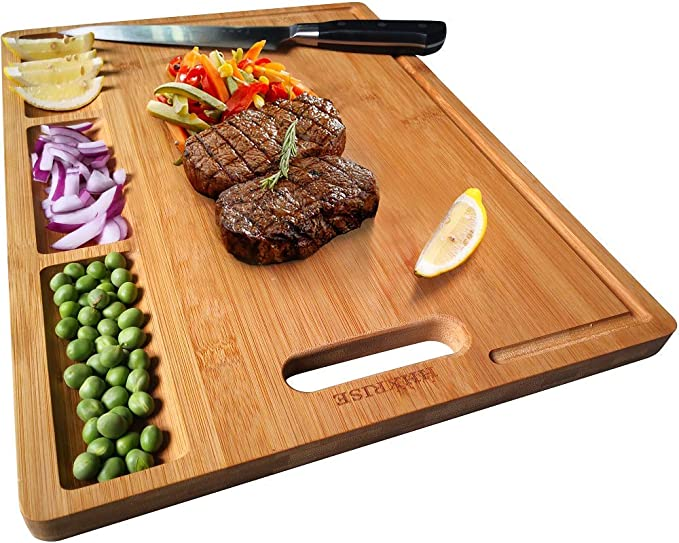 NO MORE MESS! BUILT IN COMPARTMENT ORGANIC BAMBOO CUTTING BOARD!