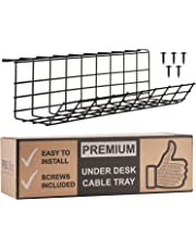 Under Desk Cable Management Tray - Cable Organizer for Wire Management. Metal Wire Cable Tray for Office and Home (Black, 17)