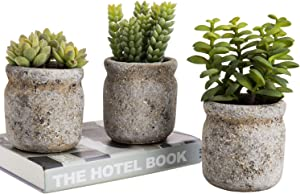 MyGift Set of 3 Realistic Artificial Green Succulent Plants in Rustic Gray Round Mason Jar Style Planter Pots