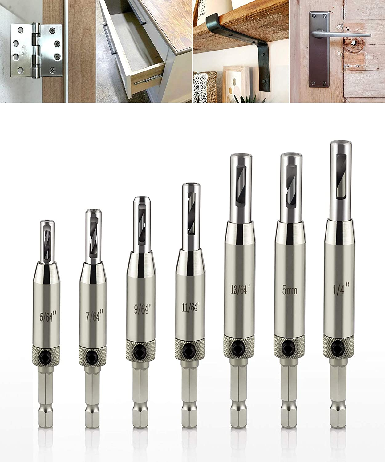 Self Centering Lock Hinge Drill Bits Set Stainless Steel Hardware Drilling Hole