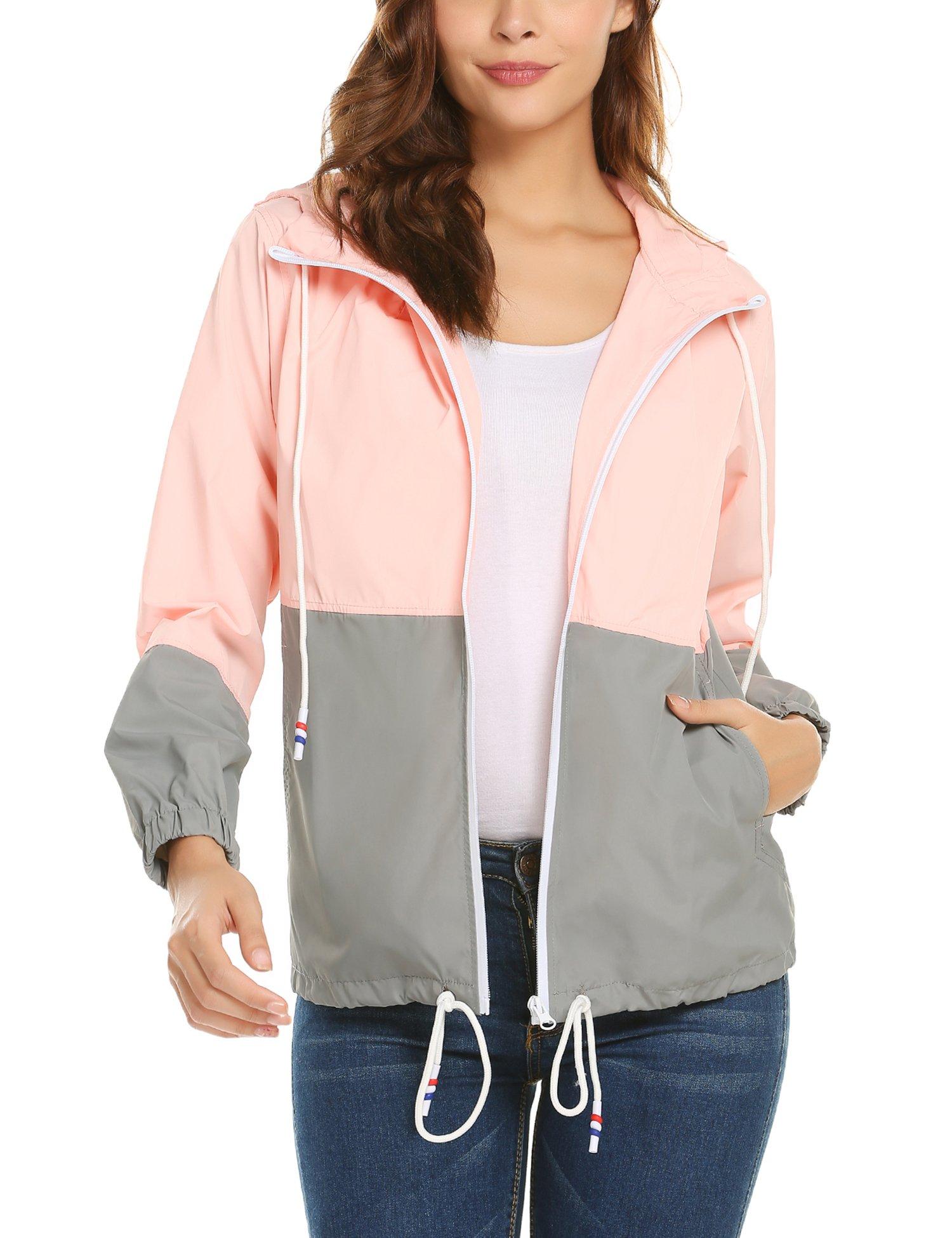 ZHENWEI Women's Lightweight Raincoat Zip up Casual Hoodie Rain Jacket Pink L