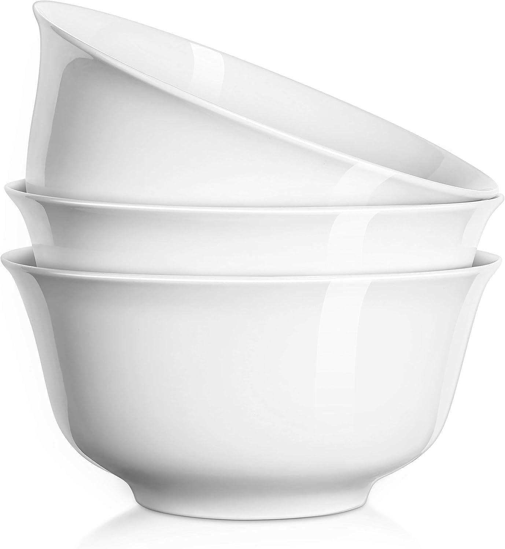 DOWAN 7 Inches, 36 oz Porcelain Deep Bowl Set for Soup, Salad, Ramen, Cereal, Set of 3, White