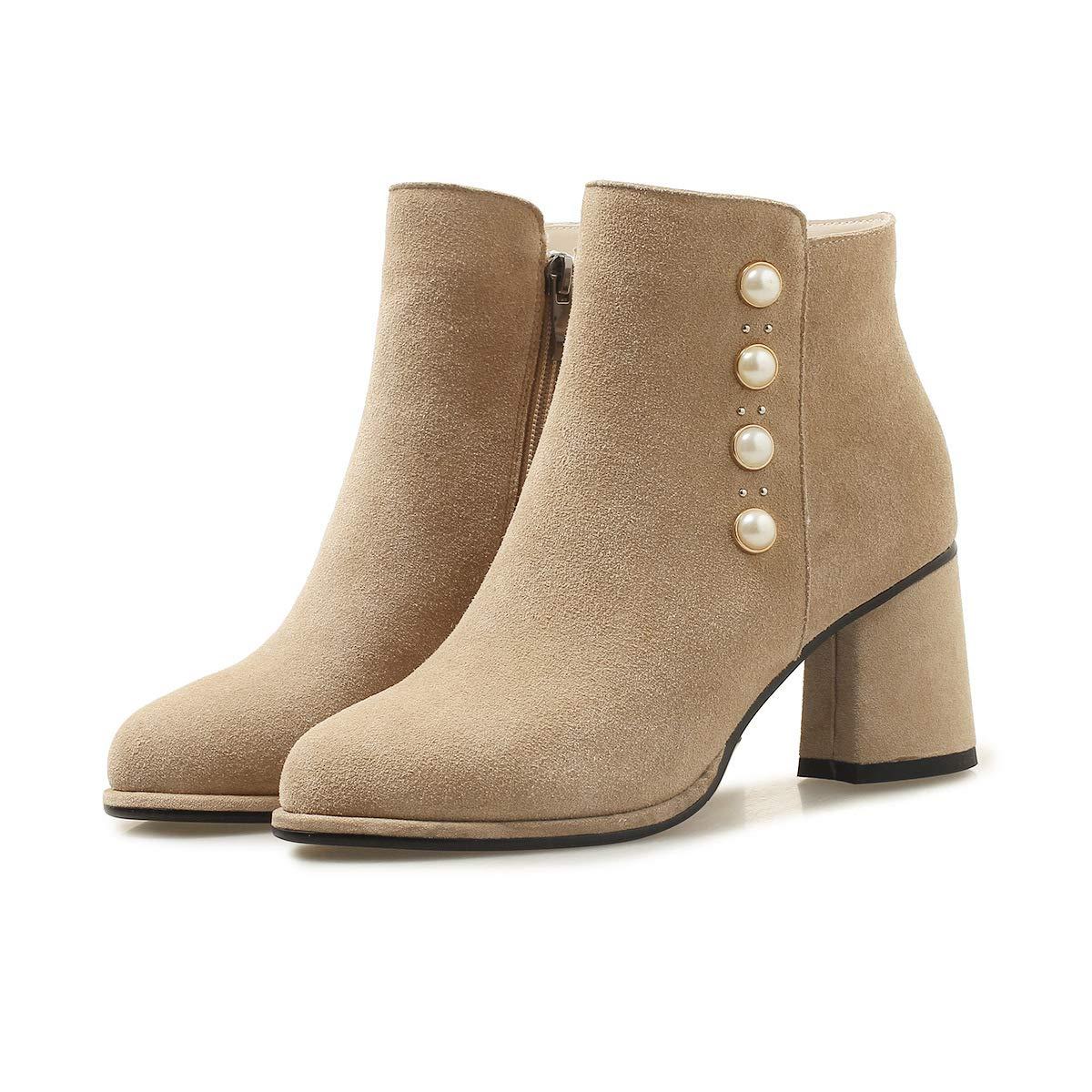 Damen Stiefel Woherren Round Toe Block Heels High Short Ankle Stiefel
