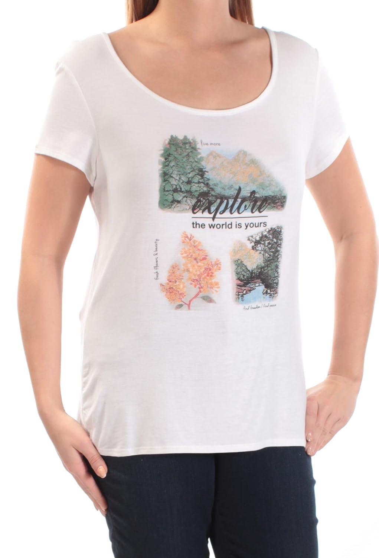 9d7032c5e32a Amazon.com: Jamie & Layla Womens Glitter Scoop Neck Graphic T-Shirt White  S: Clothing
