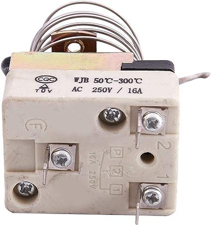 Bigpea AC 16A 250V 50 a 300 Celsius degre a 3 brohces NC Thermostat de capillaire pour four electrique