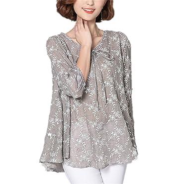 Guangxinni Women Loose Linen Cotton Blouse Tunic Shirt 6xl Plus Size
