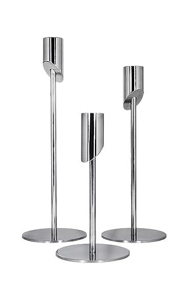 Moderne Kerzenständer kerzenständer elvaro im 3er set aus hochglanzpoliertem aluminium