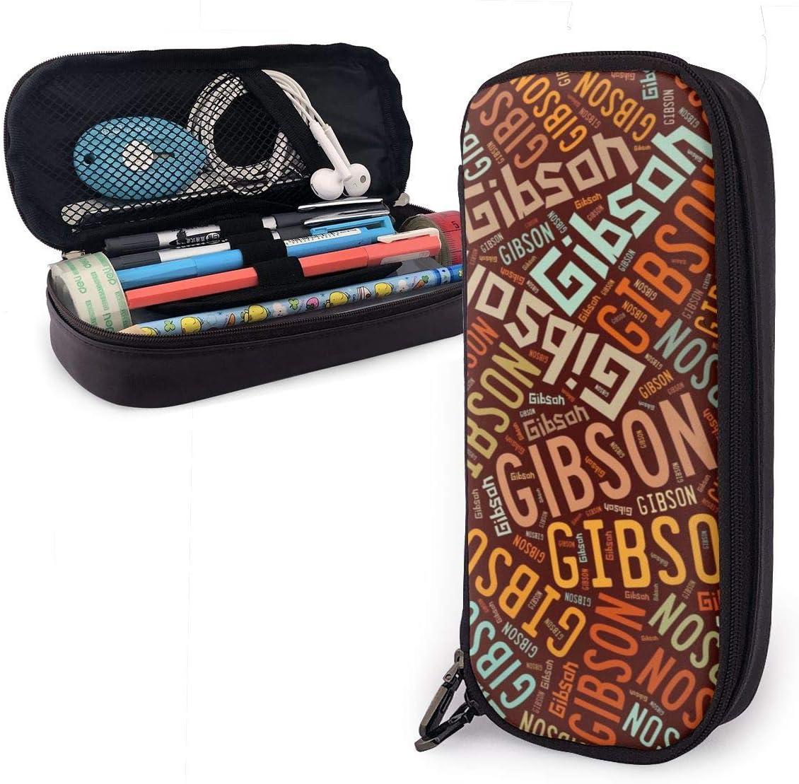 Estuche de lápices de cuero de apellido americano Gibson Estuche de lápices Estuche de almacenamiento grande Organizador de caja Organizador de maquillaje Bolso de estudiante: Amazon.es: Oficina y papelería