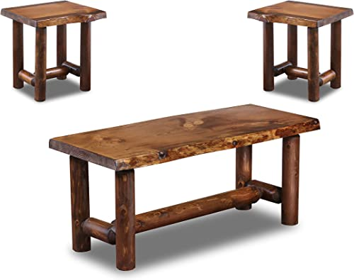 Rustic Log Coffee and End Table Set Pine and Cedar Honey Pine