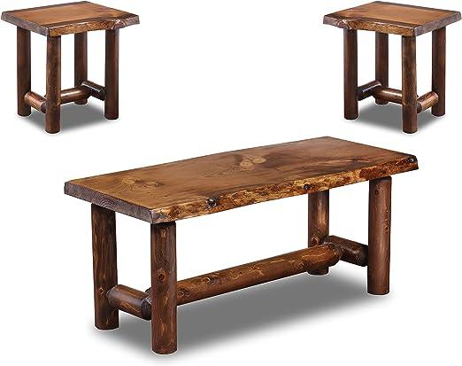Amazon Com Rustic Log Coffee And End Table Set Pine And Cedar