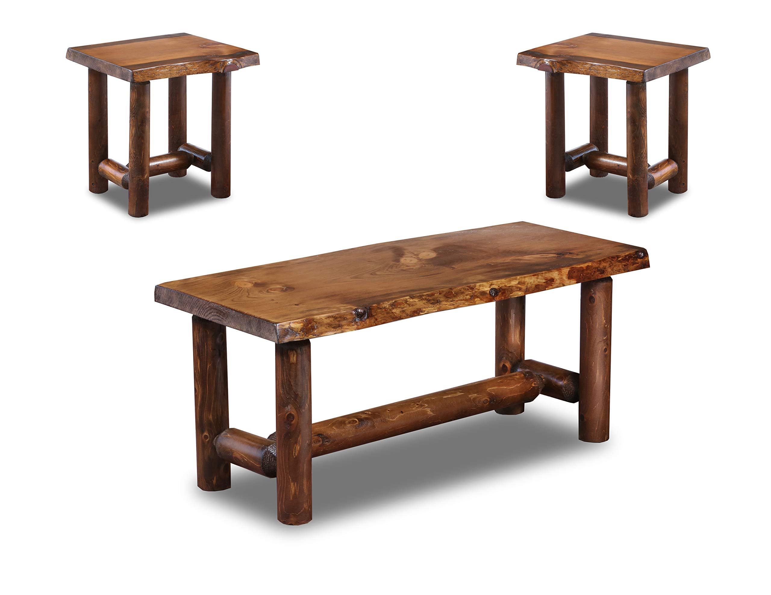 Rustic Log Coffee and End Table Set Pine and Cedar (Honey Pine) by Southern Rustic Logwerks